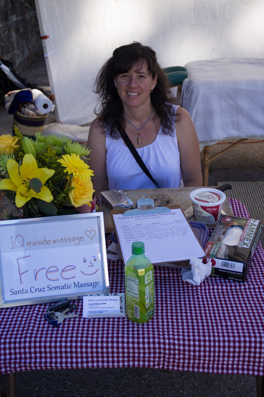 Santa Cruz Somatic Massage at Boulder Creek's 1st Farmers Market