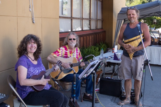 Bluzar & Sunday Ensumble providing music for Boulder Creek's 1st Farmers Market