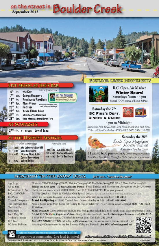Boulder Creek September Events